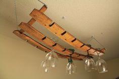 Oak Hanging Wine Glass Rack From Wine Barrel Stave by Hanging Oak, $75