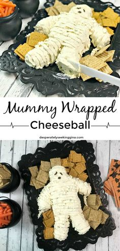 Yummy Mummy Cheeseball Delight Halloween party guests with a delicious mummy wrapped cheeseball. Yummy Mummy Cheeseball Delight Halloween party guests with a delicious mummy wrapped cheeseball. Halloween Snacks, Plat Halloween, Halloween Party Appetizers, Halloween Dishes, Hallowen Food, Looks Halloween, Hallowen Ideas, Fairy Halloween Costumes, Halloween Party Supplies