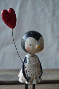 Folk Art Paperclay Valentine Penguin w/ balloon by apinchofprim