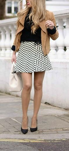 Black & White patterned mini Skirt with Black top + Suede jacket