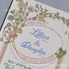 Vintage Botanical Wedding Invitation Sample Set by aprilink, $4.00