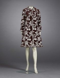 Dark red velvet coat embroidered and beaded in silver - Bill Blass, c. 1968 - showing eastern influences, Indian and Japanese