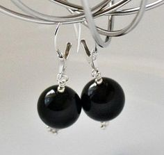 Black Onyx Sterling Silver Gemstone Earrings by HannahsGems Gemstone Earrings, Pearl Earrings, Drop Earrings, Black Onyx, Black And White, Stocking Stuffers For Women, Corporate Style, Wow Products, Gemstones