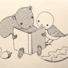 """Reading a book together"" Illustration - These squirrel and bird friends found a book they can't put down. :)"