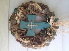 Burlap cross wreath, I made out of supplies bought entirely at Hobby Lobby.