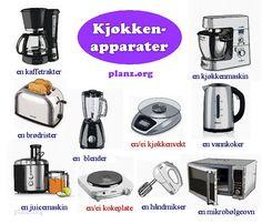 Kjøkkenapparater - Кухонные приборы на норвежском Norway Culture, Communication Is Key, Kettle, Language, Family History, Finland, Denmark, Mythology, Education