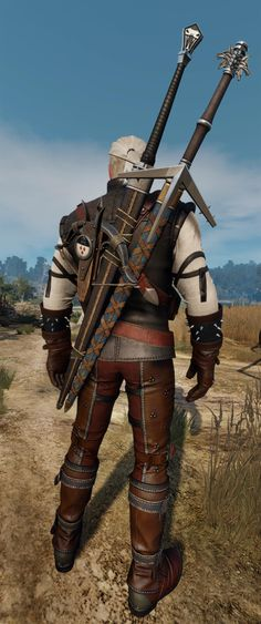 My favourite and in my opinion the most gorgeous two swords in the game Witcher 3 Geralt, The Witcher 3, Wild Hunt, My Opinions, Swords, Geek Stuff, Gaming, Internet, Halloween