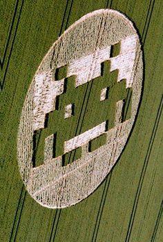space invader crop circle