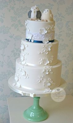 Birds & blossoms wedding cake by The Designer Cake Company, via Flickr