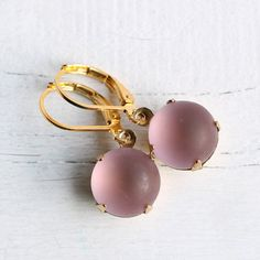 Rose Pink Earrings ... Vintage Matte Frosted Jewels on Etsy, $13.85