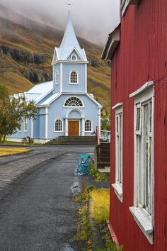 Light blue church in