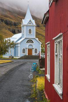 Light blue church in Seyðisfjörður. / Iceland / Tumblr