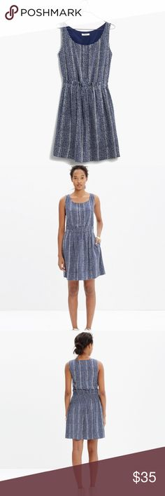 """Madewell Paperbag Tank Dress in Batik Stripe Beautiful Madewell dress. A sleeveless dress with a waist-defining paperbag skirt. No-fuss feminine in batik-inspired stripes.  Tag was cut out but the fabric is silk ( madewell website).                                                                Length- 34""""     Waist- 14 1/2"""" ( elastic) Madewell Dresses"""