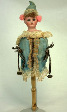 """12"""" tall Antique German Bisque Head Musical Marotte with whistle handle.  c1910"""