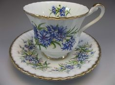 Vtg Paragon Tea Cup Saucer Set Blue Flowers Bone China Majesty The Queen England #Paragon ♡