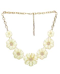 "With colored faceted stones clustered into flower-like  shapes with rhinestones, this statement necklace is dazzling. It includes a lobster clasp  closure and measures 18"" long.      Metal / Man Made Materials     Imported"