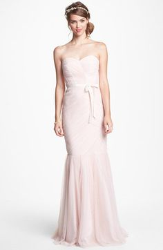 ML Monique Lhuillier Tulle Trumpet Dress.. This blush pink dress is labeled as a bridesmaid dress, but I think it would make a beautiful wedding gown too.