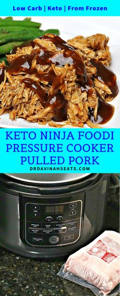 An easy Keto Pressure Cooker Pulled Pork recipe that uses the Ninja Foodi Pressure Cooker and a nearly frozen roast. Done in less than 2 hours and perfect for meal prep! - Pressure Cooker - Ideas of Pressure Cooker Pulled Pork Recipes, Roast Recipes, Low Carb Recipes, Dinner Recipes, Pulled Pork Pressure Cooker Recipe, Pressure Cooker Recipes, Pressure Cooking, Slow Cooker, Pulled Pork