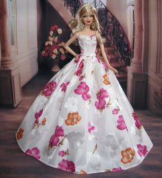 Free Shipping White Flower Dress Party Clothes Outfit Gown Skirt  for Barbie Doll-in Dolls Accessories from Toys & Hobbies on Aliexpress.com
