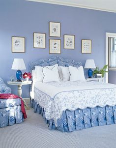 Blue Bedroom: Everybody loves blue and white. These periwinkle walls in Benjamin Moore Riviera Azure contrast nicely with the bright white linens and pictures.<- that color is absolutely beautiful! Blue Rooms, Blue Bedroom, White Rooms, Bedroom Decor, Bedroom Ideas, Blue Walls, Bedroom Inspiration, Periwinkle Room, Le Cosy