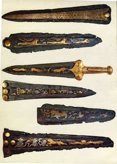 """""""Mycenaean silver and gold daggers from shaft graves Grave Circle A, B. These beautiful objects of art were made for Mycenaean warlords to show off at parties held in their palaces between the wars. Mycenaean, Minoan, Ancient History, Art History, Creta, Swords And Daggers, Arm Armor, Greek Art, Ancient Artifacts"""