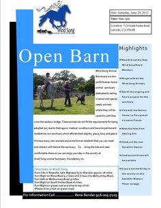 """Lincoln - Saturday June 23rd support Wind Song Animal Sanctuary Foundation, Inc. at their """"Open Barn Event"""" from 9am-1pm"""
