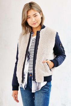 Levis Nylon Sherpa Bomber Jacket - Urban Outfitters