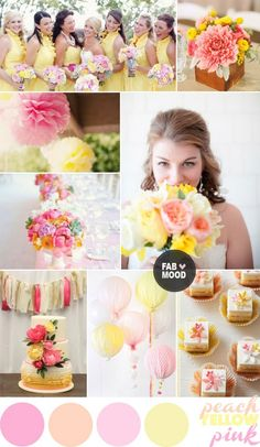 Pink yellow wedding colour palette