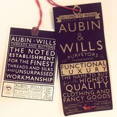 Aubin & Wills swing tag.