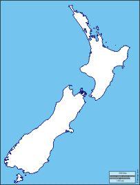 Neuseeland: Kostenlose Karten, kostenlose stumme Karte, kostenlose unausgefüllt Landkarte, kostenlose hochauflösende Umrisskarte : Küsten, Flüsse, Wichtige Städte, Namen (weiß)