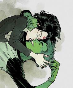 Chico bestia X Raven. Me gustan mucho los dibujos de esta pareja!!!