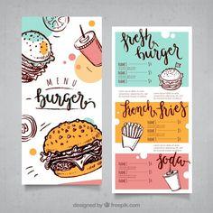 Menu Restaurant Design, Food Menu Design, Restaurant Restaurant, Design Web, Flyer Design, Flyer Printing, Postcard Printing, Menu Digital, Design Package