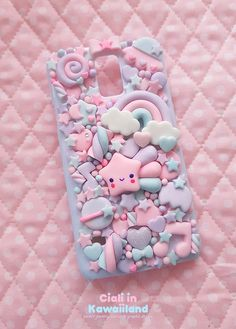 Kawaii decoden case - lilac galaxy back case for all smartphone! Kawaii Phone Case, Girly Phone Cases, Decoden Phone Case, Diy Phone Case, Iphone Cases, Iphone 4, Kawaii Crafts, Kawaii Diy, Kawaii Room