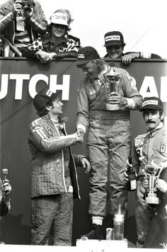 Niki Lauda, James Hunt and Clay Regazzoni in 1975