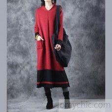 Warm red sweater dress oversized v neck long knit sweaters vintage patchwork winter dresses