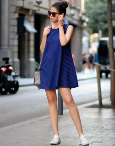 Street Style Mini Blue Dress
