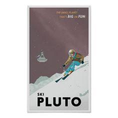 Travel Art | Travel Paintings & Framed Artwork by Travel Artists. Ski Pluto Poster Print.