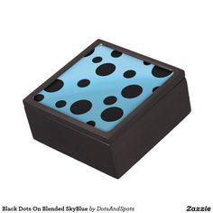 Black Dots On Blended SkyBlue Premium Trinket Boxes