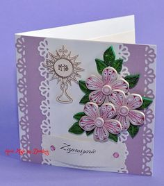 Paper Quilling Designs, Quilling Paper Craft, Quilling 3d, Quilling Ideas, Quiling Cards, Free Quilling Patterns, Première Communion, First Communion Invitations, Diy Valentines Cards