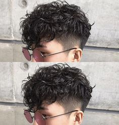 Image may contain: one or more people and closeup Haircuts For Wavy Hair, Curly Hair Cuts, Permed Hairstyles, Short Curly Hair, Haircuts For Men, Short Hair Cuts, Curly Hair Styles, Cool Hairstyles, Androgynous Hair