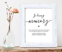 In Loving Memory, Printable Wedding Memorial Table Sign, Memory Sign, Wedding memory sign, In memory Sign, 8x10, PDF Instant Download by tuttoprint on Etsy https://www.etsy.com/listing/500884976/in-loving-memory-printable-wedding