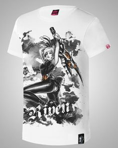 lol game Riven t shirt League of Legends girl characters chinese brush painting  t shirts-