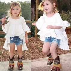Kid Baby Girls Cotton Outfits White Skirt Long Tops Denim Jeans Pants Dress Set #Unbranded #Dressy