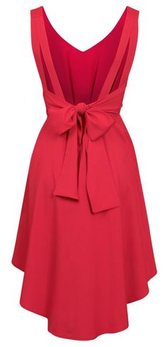 Sexy V Back Bow Red Dress For Date,Party.