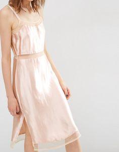 Image 3 ofASOS Satin Slip Cami Dress with Mesh Inserts