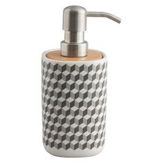The Retro grey patterned ceramic soap dispenser gives a white-on-white space a wake-up call with its lively geometric design. Buy now at Habitat UK.
