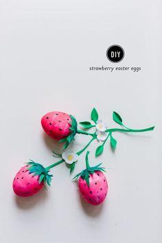 #easterdiy    Read More: http://www.stylemepretty.com/living/2015/03/28/diy-strawberry-easter-eggs/