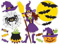 Items similar to Halloween Clipart - Digital Vector African American Witch, Moon, Broom, Pumpkin Clip Art on Etsy Halloween Clipart, Halloween Kids, Halloween Witches, October Clipart, Bicycle Wedding, Mermaid Clipart, Wedding Clip, Vector Flowers, Business Card Mock Up