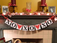 Valentines Day Garland XO XO XO and Hearts Banner Holiday Garland Wall Hanging Photo Prop. $17.00, via Etsy.