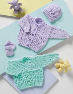 Cardigans, Hat & Mittens in Stylecraft Wondersoft DK. Find this pattern and more baby knitting inspiration at LoveKnitting.Com!